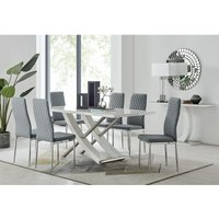 Furniturebox Uk - Mayfair Large White High Gloss And Stainless Steel Dining Table And 6 Elephant Grey Milan Dining Chairs