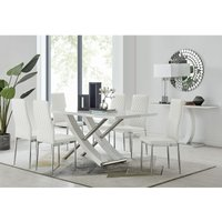 Mayfair Large White High Gloss And Stainless Steel Dining Table And 6 White Milan Dining Chairs