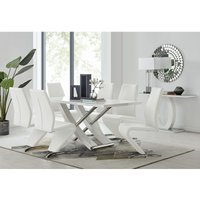 Mayfair Large White High Gloss And Stainless Steel Dining Table And 6 White Willow Dining Chairs