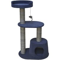 Ferribiella - Medium two-column scratching post Night model with bed and game pendant for cats
