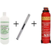 Mega Bio Ethanol Starter Pack: 6 x 1 Litre Bottles + Long Stem Refillable Lighter + Extinguisher - ADAM
