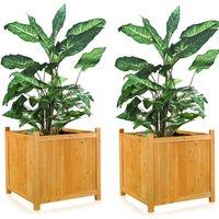 2xGarden Flowerpot wooden planter box flower trough flower pot cachepot square - Melko