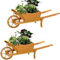 2XGarten Planting Wheelbarrow Wooden Wheelbarrow Flowerbarrow Planting Trough Flowerpot - Melko