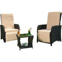 Lounge Seating Set Garden furniture made of polyrattan, black, incl. integrated footrests + adjustable back and footrests - Melko