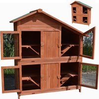 rabbit hutch small animal house 4 floors, 113 x 128 x 55 cm, made of wood, brown, incl. 4 ramps - Melko