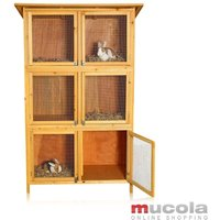 XXL rabbit hutch small animal house, approx. 180 x 102 x 48 cm, made of wood, 3 x 2 boxes - Melko