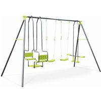 Meltemi 4-piece swing set, 6-seat set with 2 swings, 1 tandem swing and 1 two-seated glider, height 223cm, outdoor play equipment