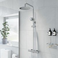 Thermostatic Twin Head Mixer Shower Set Round Bar Chrome Exposed Valve - Merano