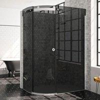 10 Series Single Offset Quadrant Shower Enclosure 1200mm x 900mm LH - Smoked Black Glass - Merlyn