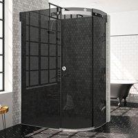 Merlyn 10 Series Single Offset Quadrant Shower Enclosure 1200mm x 900mm RH - Smoked Black Glass