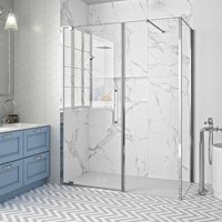 10 Series Inline Pivot Shower Door with Tray 1200mm Wide - Clear Glass - Merlyn