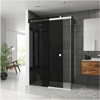 10 Series Sliding Shower Door with Tray 1400mm Wide Left Handed - Smoked Black Glass - Merlyn