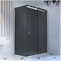 Merlyn 10 Series Sliding Shower Door with Tray 1400mm Wide Right Handed - Smoked Black Glass