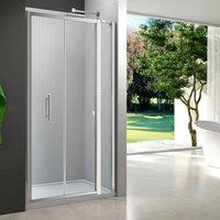 6 Series Bi-Fold Shower Door 1000mm Wide and 140mm Inline Panel - 6mm Glass - Merlyn