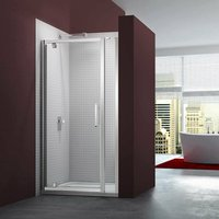 6 Series Pivot Shower Door 700mm Wide and 215mm Inline Panel - 8mm Glass - Merlyn