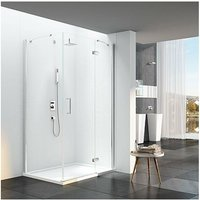 6 Series Frameless Inline Hinged Shower Door with Mstone Tray 1400mm Plus Wide - 6mm Glass - Merlyn