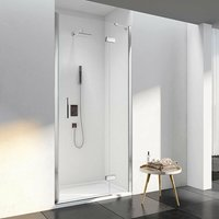 6 Series Frameless Inline Hinged Shower Door with Mstone Tray 760mm Wide - 6mm Glass - Merlyn