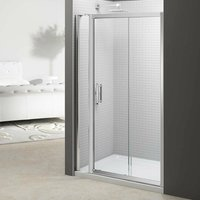 6 Series Sliding Shower Door 1100mm Wide and 140mm + 215mm Inline Panel - 6mm Glass - Merlyn