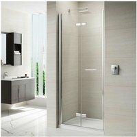 8 Series Frameless Hinged Bi-fold Shower Door 1000mm with 1000mm x 800mm Tray - 8mm Glass - Merlyn