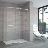 8 Series 1100mm Plus Hinged Shower Door And Inline Panel - Merlyn