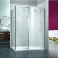 8 Series Swivel Walk-In Enclosure with End Panel, 1400mm x 900mm, Clear Glass - Merlyn