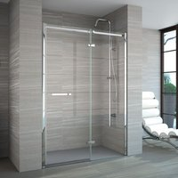 8 Series 1400mm Frameless Hinged Shower Door and Inline Panel - Merlyn