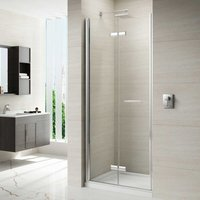 8 Series Frameless Hinged Bi-Fold Shower Door with Mstone Tray 760mm Wide 8mm Glass - Merlyn