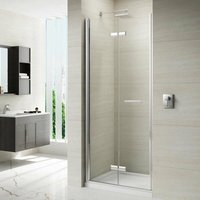 8 Series Frameless Hinged Bi-fold Shower Door with Tray 900mm Wide - 8mm Glass - Merlyn