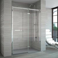 8 Series Frameless Inline Hinged Shower Door 1600mm Wide with Tray - 8mm Glass - Merlyn