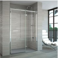 8 Series Frameless Inline Recess Hinged Shower Door 900mm Wide with Tray - 8mm Glass - Merlyn