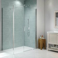 8 Series Frameless Pivot Shower Door and Inline Panel with Tray 1100mm Wide - 8mm Glass - Merlyn