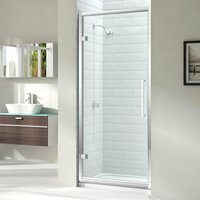 8 Series Hinged Shower Door 800mm Wide - Clear Glass - Merlyn