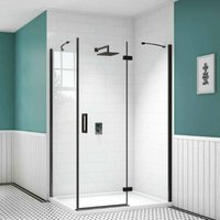 Black Frameless Inline Hinged Shower Door 900mm with 900mm x 900mm Tray - 8mm Glass - Merlyn