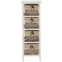Mesa chest, 4 drawer, paulownia wood frame/willow basket/linen liner