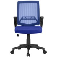 Mesh Chair Ergonomic Office Chair Height Adjustable Computer Chair Mid-Back with Comfort Breathable Lumbar Support (Blue) - YAHEETECH