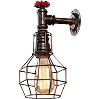 Metal Basket Wall Light Antique Industrial Chandelier Faucet Wall Lamp for Cafe Bar Office Black Rust