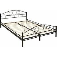 Tectake - Metal Bed Frame Art with slatted base - double bed, double bed frame, bed frame - 200 x 140 cm - black