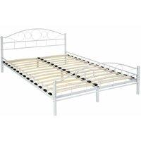 Tectake - Metal Bed Frame Art with slatted base - double bed, double bed frame, bed frame - 200 x 140 cm - white
