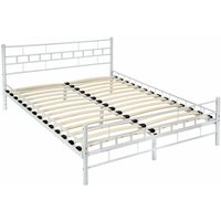 Tectake - Metal bed frame with slatted base - double bed, double bed frame, bed frame - 200 x 140 cm - white