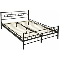 Tectake - Metal bed frame with slatted base - double bed, double bed frame, bed frame - 200 x 140 cm - black