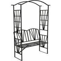 Tectake - Garden arch with bench - garden arbor, metal garden arch, rose arch - black - black