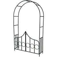 Garden arch with gate - garden arbor, metal garden arch, rose arch - green