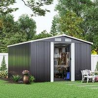 Livingandhome - 10ft x 8ft Metal Garden Shed Outdoor Tool shed - Dark Grey