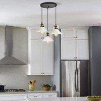Metal Iron Pendant Lamp Industrial Simple Hanging Light White Nostalgia Ceiling Lamp Retro Vintage Pendant Light Antique 3 Lights Chandelier 220MM