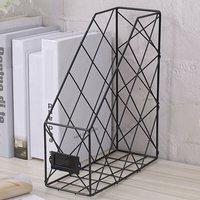 Metal Magazine Newspaper Wire Basket Storage Rack Organizer Office Home Black 24.5x9.5x30cm - LIVINGANDHOME