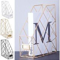 Metal Magazine Newspaper Wire Basket Storage Rack Organizer Office Home Gold 24.5x9.5x30cm - LIVINGANDHOME