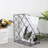 Metal Magazine Newspaper Wire Basket Storage Rack Organizer Office Home Black 24.5x16x30cm