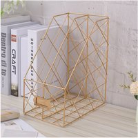 Metal Magazine Newspaper Wire Basket Storage Rack Organizer Office Home Gold 24.5x16x30cm - LIVINGANDHOME