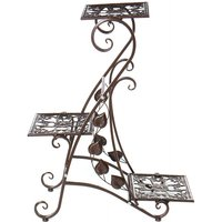 Metal Plant Stand Display Shelf Home Garden Ornaments Indoor Outdoor Decoration 25.5*57*73cm Coffee