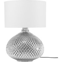 Glam Table Lamp Glass Studded Oval Base Round Fabric Shade Madon